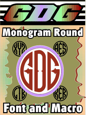 GDG Monogram Round Font and FREE Macro for X5 and below