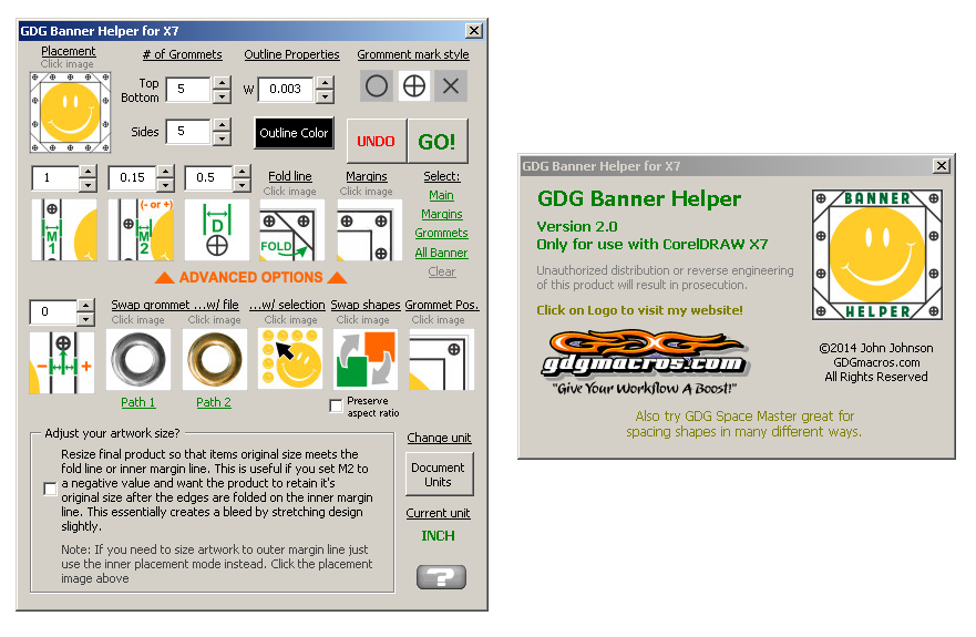 banner helper template macro for corel draw